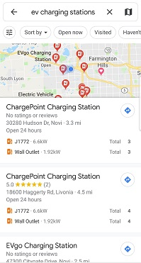 Charging station search results