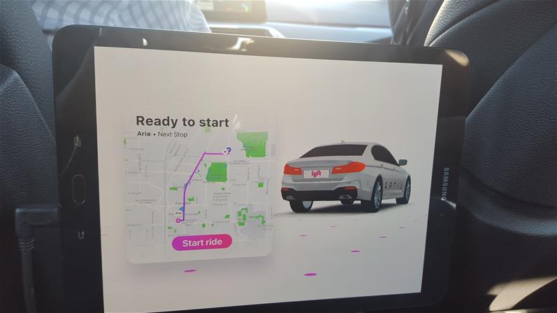 "Self-driving Lyft displays ""Ready to Start"" before ride begins"