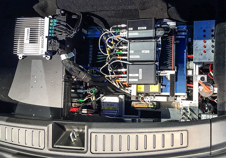 Equipment in Trunk of Bosch Tesla-based Autonomous Research Vehicle